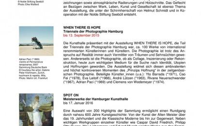 Hamburger Kunsthalle – Monatsvorschau September mit Ausblick auf Oktober 2015