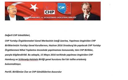 CHP Hamburg ve Schleswig Holstein Birliği'nin kongresi ertelendi