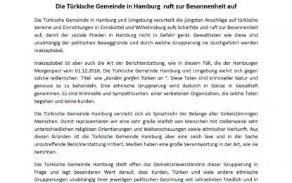 Die Türkische Gemeinde in Hamburg ruft zur Besonnenheit auf