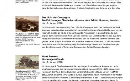 Der Hamburger Kunsthalle für November 2017 mit einem Ausblick auf Dezember 2017