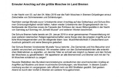 Erneuter Anschlag auf die größte Moschee im Land Bremen