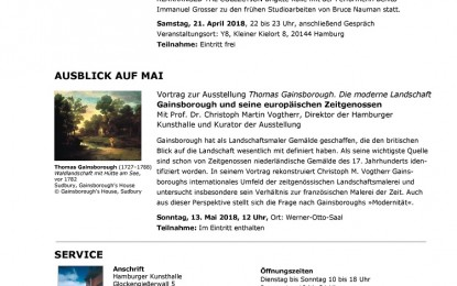 Hamburger Kunsthalle – Monatsvorschau April 2018 mit Ausblick auf Mai 2018