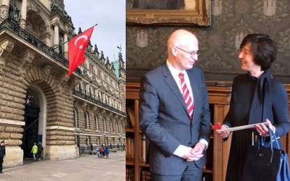 Rathaus'a Türk Bayrağı asıldı! Başkonsolos Sunel, Exequatur'ı Başbakan Tschentscher'in elinden aldı…