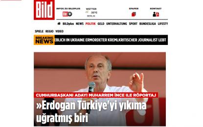 """Muharrem İnce, Alman Bild'de konuştu: """"Erdoğan Türkiye'yi yıkıma uğratmış biri"""""""