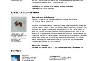 Hamburger Kunsthalle – Monatsvorschau Januar 2019 mit Veranstaltungsprogramm und Ausblick auf Februar 2019