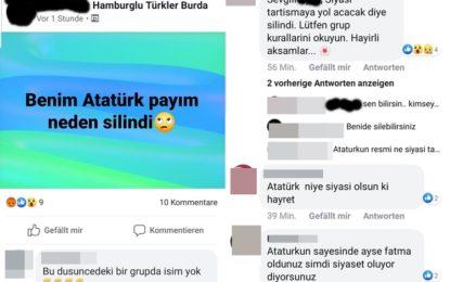 """""""Hamburglu Türkler Burda"""" grubu Atatürk'ü siyasi buldu, kaldırdılar!"""