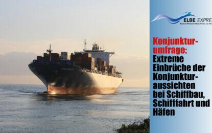 Konjunkturumfrage: Extreme Einbrüche der Konjunkturaussichten bei Schiffbau, Schifffahrt und Häfen